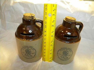 TWO Vintage Moonshine Jug Coin Bank A PENNY SAVED IS A PENNY EARNED 1969