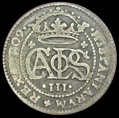 1709 Silver Spain 2 Reales Charles Iii Coin Very Fine Condition Barcelona Mint