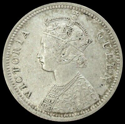 1875 C Silver India British East India Company 1/4 Rupee Condition About Unc.
