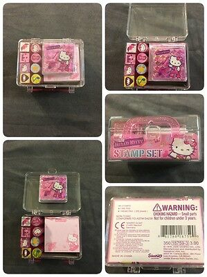 Hello Kitty Sanrio 8 Stamps Ink Pad Memo Pad in Cute Pink Carrying Case