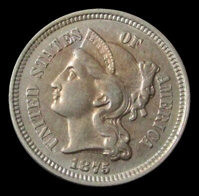 1875 United States Three Cent Piece Coin Choice About Uncirculated Condition