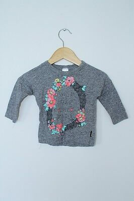 Bonds Grey Long Sleeve Top Tee With Floral Print Size 3-6 Months Baby Girl