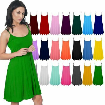 Womens  Cami Swing Flared Dress Ladies Vest Sleeveless Strappy Skater Top