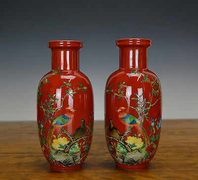 Pair of Chinese Famille Rose Enamel Red Rouleau Porcelain Vase