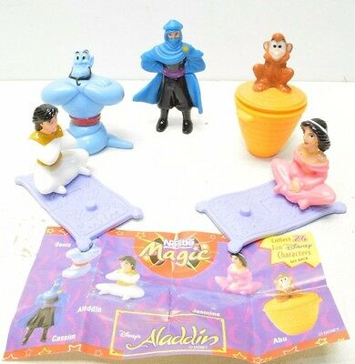 ALADDIN Disney US NESTLE MAGIC Figurine w/Paper Lot of 5 Figures 1997 Genie