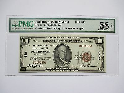 1929  Pmg Choice Au 58 $100.00 National Currency Note - Pittsburgh Pa
