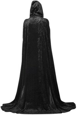 Extra Long Halloween Cape For Adults Black Hooded Cloak Coat Long Wicca Robe Up