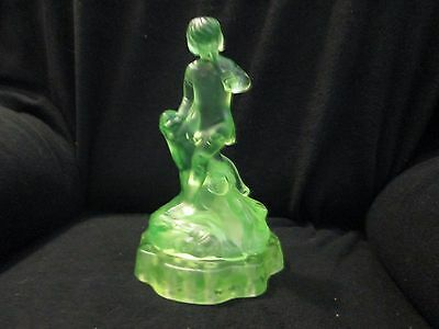 Walther and Sohne Uranium Glass Peter Pan and Flower Frog