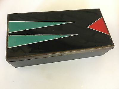 Vintage German Deco Machine Age Metal & Enamel Dresser Jewelry Box