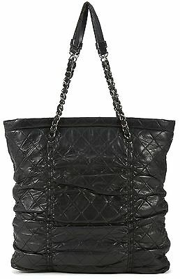 CHANEL Black Quilted Leather Sharpei Tote Shoulder Bag