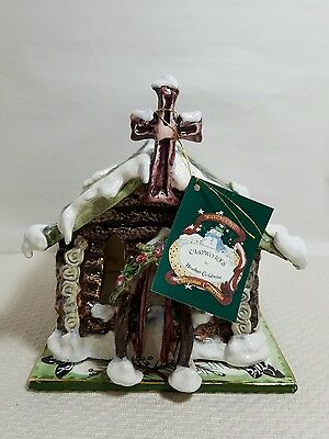 """Blue Sky """"Log Cabin Church"""" by Heather Goldminc Candle House Christmas Winter"""