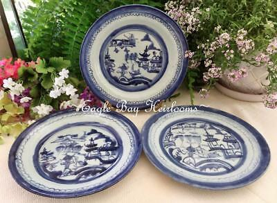 """3 Heavy 19th c. Plates -Chinese Export Porcelain -Blue Canton 8+"""" Nanking Design"""
