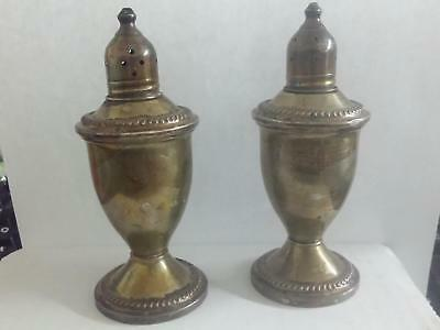 1950's DUCHIN CREATIONS Salt Pepper Shakers STERLING Silver WEIGHTED set