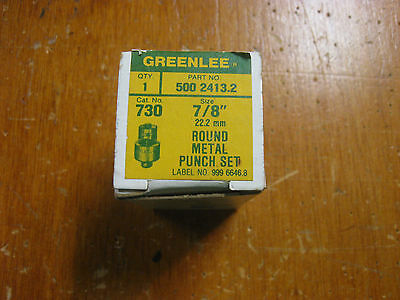 """New Old Stock Greenlee 7/8"""" Round Metal Punch Set No.730"""