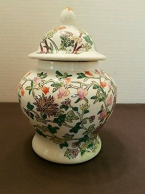"""LOVELY Hand Painted Famile Floral Chinese  9"""" TEMPLE GINGER Jar w/LID"""