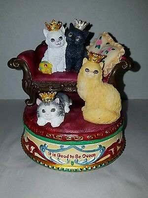 """San Francisco Music Box Co. """"It is Good to be Queen"""" Mary Badenhop Cats in Tiara"""
