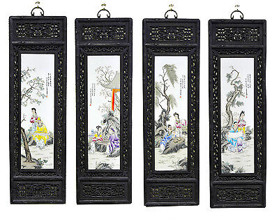 Large Set of 4 Chinese Painting Figure Porcelain Wall Hanging Plaque