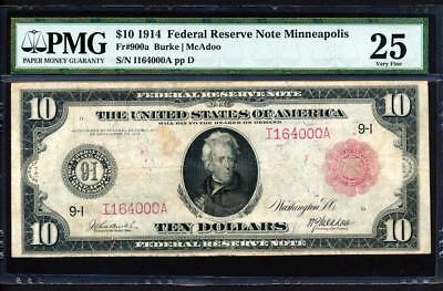 """Fr.900A 1914 $10 MINNEAPOLIS """"TYPE A"""" LOW NEAT SERIAL 164000 RED SEAL+ PMG VF 25"""