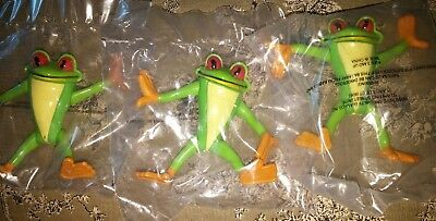 Lot of 3 Cha Cha Tree Frog Toy New and Sealed from rain forest cafe
