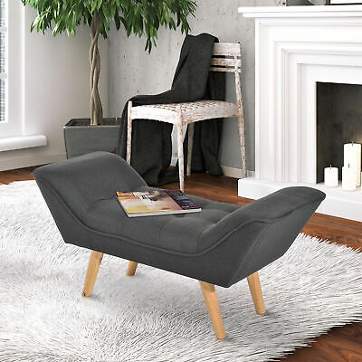 HOMCOM Chaise lounge Ottoman Bench Deluxe Arm Linen Fabric Grey