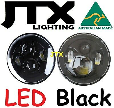 "JTX 7"" LED Headlights Black no Halo for Toyota Landcruiser HZJ75 75 78 79 series"