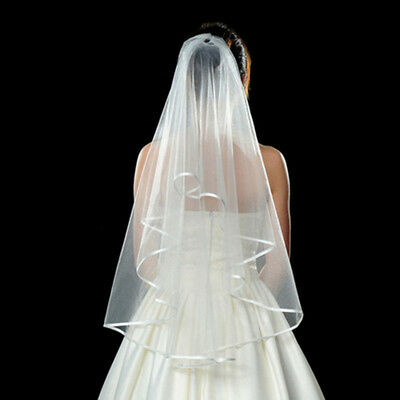 3 T Bridal Elbow Short Length Cathedral Satin Lace Edge Wedding Veil With Comb