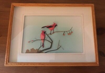 Vintage Asian Feather & Twig Mixed Media Framed Art