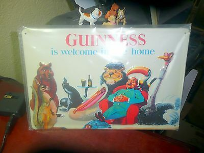 "1997  Guinness is Welcome in the Home Metal Sign - 12"" x 8"" inches- NEW"