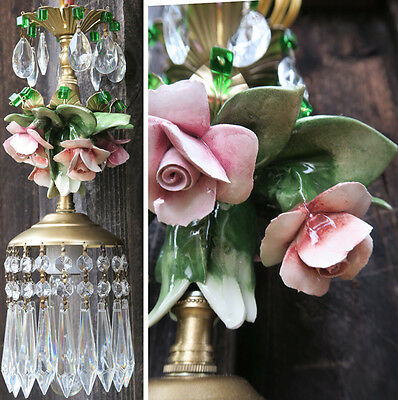 1of2 Porcelain Capodimonte Pink Shabby Rose Brass chandelier Swag vintage lamp