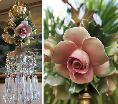 1 Porcelain Capodimonte Pink Lemon Rose Brass tole chandelier Swag vintage lamp