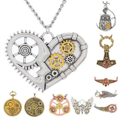 Men & Womens Vintage Steampunk Gears Charm Pendant Necklace Chain Multi Style