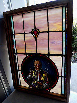 Antique Vtg Church Stained Glass Window Architectural Salvage Pope SP23