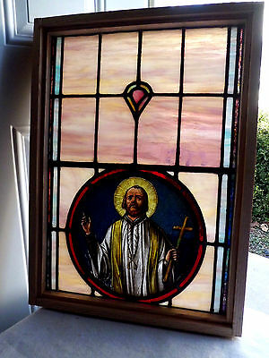 Antique Vtg Church Stained Glass Window Architectural Salvage Priest SP24