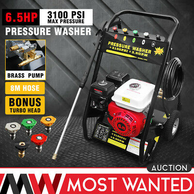 6.5HP Petrol High Power Pressure Jet Washer 3000PSI Engine With Gun Hose Wheel