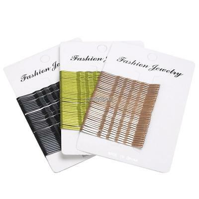 New 36pcs Long Large Chic Hair Grips Clips Bobby Waved Pins Slides Black Brown