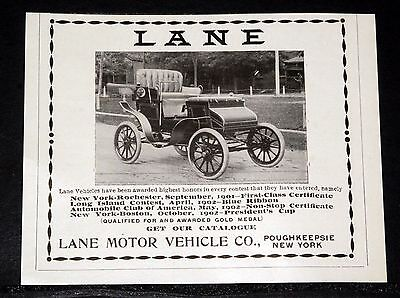 1903 Old Magazine Print Ad, Lane Motor Vehicles, Been Awarded Highest Honors!