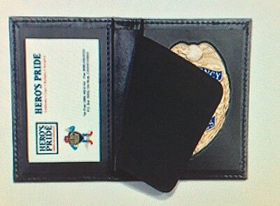 Genuine Bi-fold Leather Recessed Badge Holder Only. Shield Police Security