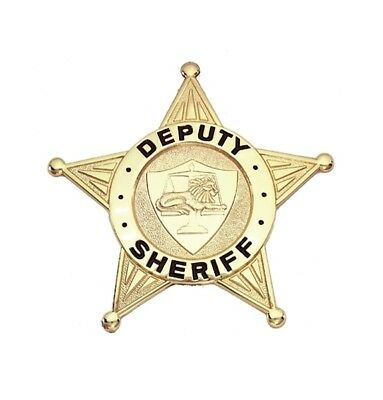 Deputy Sheriff Badge Theater Costume Toy Novelty Collection Memorabilia Golden