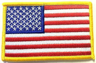 AMERICAN FLAG EMBROIDERED QUALITY PATCH GOLD BORDER USA FLAG PATCH United States