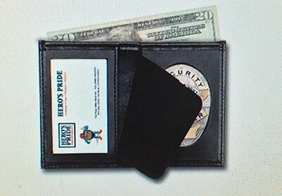 Oval Badge Wallet Bi-Fold Recessed Leather Security