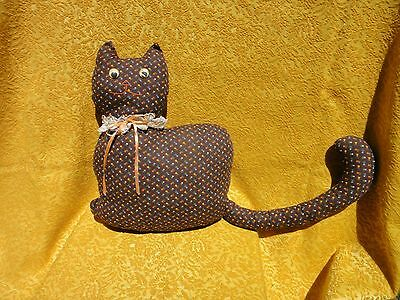 """Vintage Cat Shaped Hand Made Floral Door Stop? or Pillow moving eyes 14"""" x 10.5"""""""