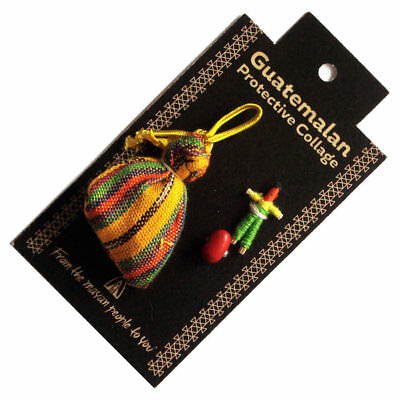 Guatemalan PROTECTIVE TALISMAN with Worry Doll and Lucky Bean - PINK