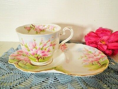 Vintage Royal Albert Blossom Time Tennis Set Pink Blossom Cup & Plate -Cup Is Af