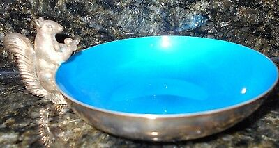 Vintage Turquoise Enamel Silver Plate Reed & Barton Squirrel Nut Dish 593
