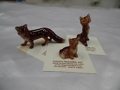 Hagen Renaker Fox Set of 3 Mama,Papa, Baby Figurine Miniature  FREE SHIP New