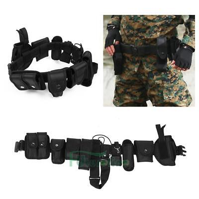 Police Guard Tactical Belt Buckles With 9 Security System Pouches Utility Kit AU