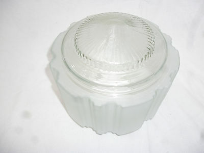 ANTIQUE BIG ART DECO FROSTED CLEAR GLASS CEILING LIGHT SHADE 21cm diameter