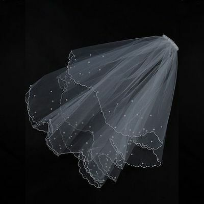 Wedding Bridal Veil White 2 Tier Finger Tip with Pearls