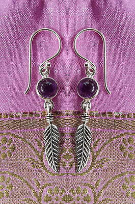 485 Amethyst feather earring solid 925 sterling silver rrp$34.95