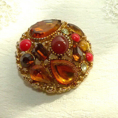 Jewellery Very Pretty Autumn Coloured Glass Cabachon Brooch 525